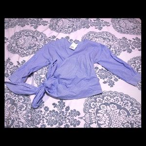 Blue and white striped H&M wrap blouse